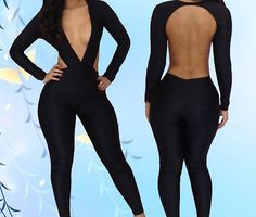 Black Sexy Women Deep V Neck Jumpsuit Backless Clubwear Bodysuit Rompers OS | eBay