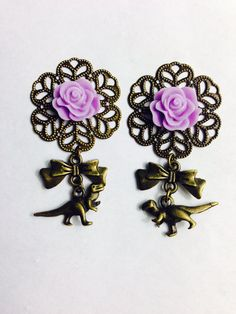 Dinosaur Dangle Plugs Purple Rose Ear by ArsenicaAccoutrement, $25.00