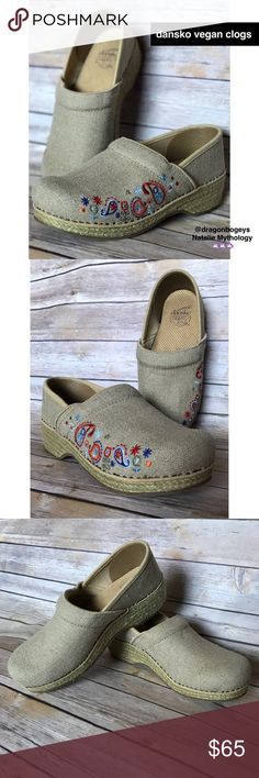 """Dansko Vegan Jute Professional Clogs Jute wrapped linen fabric vegan professional clogs in a natural wheat color with adorable red, blue, orange, and green paisley and floral embroidery details. Firm arch support and contoured midsole. Shock absorbing sole and anti fatigue rocker bottom. Small heel is 1.5"""" high. These shoes are extremely comfortable and balanced, your feet will be very happy! Gently worn, still in awesome condition. Perfect for spring and summer! Dansko Shoes Mules & Clogs"""