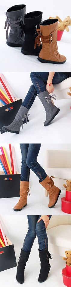 US$27.71 Big Size Pure Color Lace Up Mid Calf Flat Knight Boots