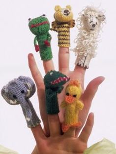 Free Finger Puppets pattern - Create your own zoo with this menagerie of 6 animals in Regia 4 ply.  A crocodile, elephant, sheep, chick, tiger and frog are all ready to invite your child's imagination to come alive.
