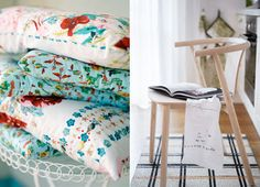 ideas for photographing favorite fabrics, pillows or towels and I love the idea of the open cookbook with hand towel on the chair.