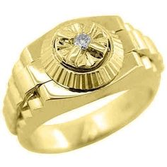 Simple Mens k Yellow Gold Round Solitaire Diamond Ring Carats