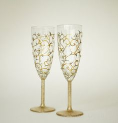 Wedding Glasses HAND PAINTED White Gold Floral by NevenaArtGlass