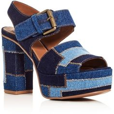 See by Chloe Denim Patchwork Block Heel Platform Sandals (1.050 BRL) ❤ liked on Polyvore featuring shoes, sandals, heels, denim, blue, see by chloe shoes, platform sandals, denim platform shoes, denim sandals and see by chloé