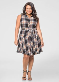 Belted Plaid Skater Dress