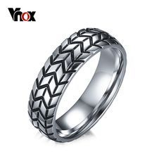 Tire Tread Style Grooved Ring Men Jewelry Rock Punk White Gold Plated Rings Add Free 24 Chain