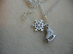 Ice Skate and Snowflake Charm Necklace by SportsJewelryStudio, $16.00