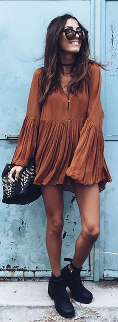 Rust Boho Little Dress by Mexiquer