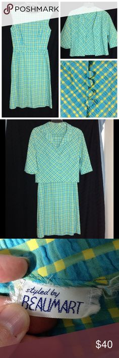 """Vintage 60s sleeveless dress with jacket Cute dress has teal, green, and yellow plaid pattern.  Fabric feels like a woven cotton blend.  The fabric is textured, which you can see in the pics.  Dress zips up the back.  Jacket has 1/2 sleeves and 4 fabric buttons down the front.  Tag says """"Styled by Beaumart"""".  The color on your screen may not match the item exactly. Vintage Dresses Midi"""