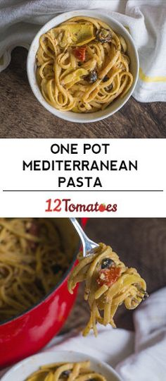 One Pot Mediterranean Pasta - Diced fire roasted tomatoes - Castelvetrano Green Olives Mediterranean Pasta, Mediterranean Diet Recipes, Gourmet Recipes, Cooking Recipes, Healthy Recipes, Pasta Recipes, Healthy Dishes, Healthy Meals, Pasta Dishes