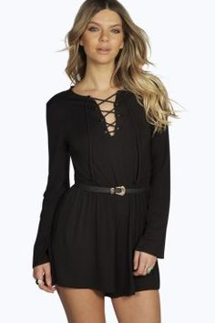 Laura Lace Up Front Capped Sleeve Playsuit at boohoo.com