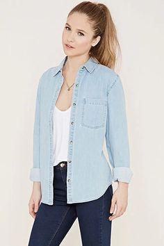 Denim Buttoned Shirt | Forever 21 #f21denim