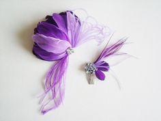 Feather Fascinator - Purple Fascinator - Bridal Feather Fascinator - Fascinator Set (2 Pieces)