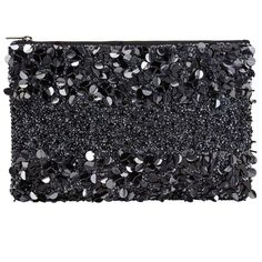 John Lewis Giorgia Sequin Pouch, Black (205 RON) ❤ liked on Polyvore featuring bags, handbags, clutches, black, man pouch bag, evening handbags, evening clutches, pouch purse and cocktail purse