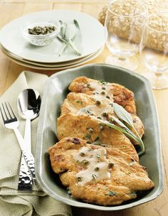 You can quickly doll up lean chicken breast with this recipe by the  Lose Weight the Smart Low-Carb Way Cookbook. Chicken is lightly coated in flour and sage then pan-fried to a delicious golden-br...