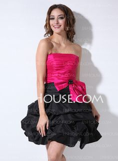 Cocktail Dresses - $103.99 - A-Line/Princess Strapless Short/Mini Taffeta Cocktail Dresses With Ruffle (016005855) http://jjshouse.com/A-Line-Princess-Strapless-Short-Mini-Taffeta-Cocktail-Dresses-With-Ruffle-016005855-g5855