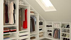 Enchanting attic storage,Attic remodel ideas and Attic renovation floor plans. Attic Wardrobe, Attic Closet, Open Wardrobe, Garage Attic, Room Closet, Closet Space, Attic Renovation, Attic Remodel, Attic Spaces
