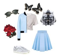 """Spring (in blue& grey)"" by a232unicorn ❤ liked on Polyvore featuring T By Alexander Wang, WithChic, Balenciaga, adidas and Ray-Ban"