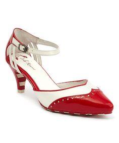Another great find on #zulily! Red & White Kitten Leather Pump #zulilyfinds