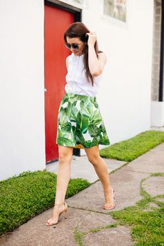 Amy Havins of Dallas Wardrobe wears a palm print party skirt.