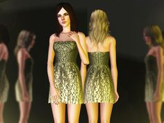 Bloom strapless dress by April - Sims 3 Downloads CC Caboodle