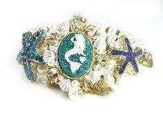 Betsey Johnson Jewelry Sea Excursion Mermaid Starfish Cameo Bracelet