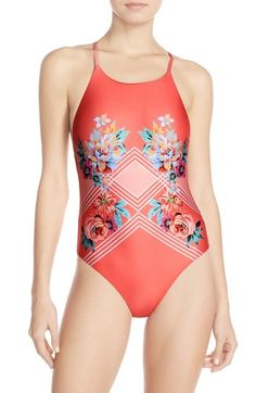 MINKPINK Print Cross Back One-Piece Swimsuit available at #Nordstrom