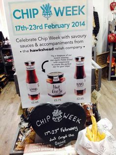 It's CHIP WEEK, so we've pinched some chips from the pub next door to go in our lovely display. Check out our sauces on our website and get dipping those chips! #Chips #Relish