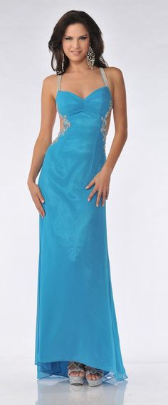 Sexy Open Low Back Cobalt Prom Dress Rhinestone Straps Embroidered $207.99