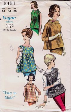 Vintage 1950's Vogue 5451 Pattern - Maternity Blouse and Scarf Collar - Size 14. $4.99, via Etsy.