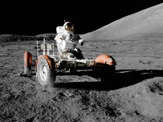Apollo 17 — The Final Moon Landing/Credit: NASA/Apollo 17 mission commander Eugene A. Cernan makes a short checkout of the Lunar Roving Vehicle during the early part of the first Apollo 17 extravehicular activity at the Taurus-Littrow landing site in Apollo Space Program, Nasa Space Program, Eugene Cernan, Moon Buggy, Apollo Moon Missions, Nasa Images, Nasa Photos, Space Race, Moon Landing