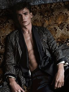 Offering a luxurious take on leisurewear, Alexander Vander Stichele graces the pages of GQ China in a silk wardrobe. Photographed by Van Mossevelde + N, Alexander lounges indoors, posing for moody but glam images. Sporting pajama-cut trousers and long, flowing robes, Alexander is quite the vision in Emporio Armani, Dolce & Gabbana and more. Related