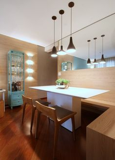 With simple but beautiful style, this is another decorative alternative for small spaces. Kitchen Interior, Kitchen Decor, Kitchen Design, Dining Nook, Dining Room Design, Duravit, Laufen Bathrooms, Corner Sofa And Chair, Corner Bench