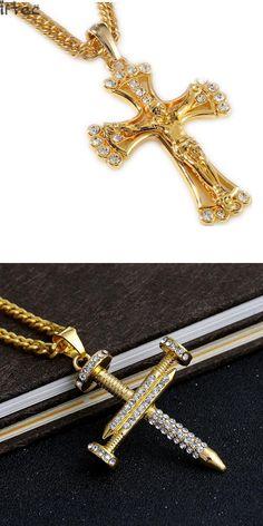 90cm hip hop rapper cool JESUS Christ Cross pendents long necklace men gold color chain male Christian jewelry cheap N141