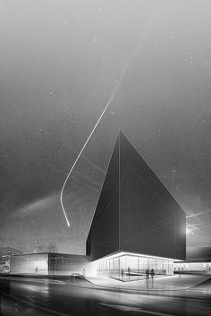 element, ki povdari namen/lastnost/uporabnost objekta izrazito izstopa in se nahaja bližini - komet spominja na oster zaključek rob stavbe