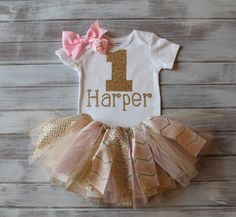 Monogrammed Gold and Pink 1st Birthday Onesie Tutu Bow Set Gold 1st Birthday Onesie Baby Girl 1st Birthday Outfit Gold and Pink Chevron Tutu by RelicsofGrace on Etsy https://www.etsy.com/listing/217082607/monogrammed-gold-and-pink-1st-birthday