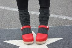 high wood red clogs
