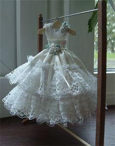 Miniature Paper Dresses | Pure white lace 1/12th scale wedding dress.