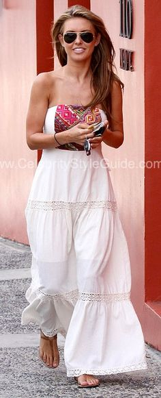 Audrina Patridge Style and Fashion - Cecilia Prado Creme Long Strapless Embroidered Dress on Celebrity Style Guide