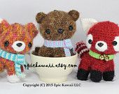 PATTERN 3-PACK: Red Fox Pup, Brown Bear Cub and Red Panda Cub - Teacup Pet Collection Crochet Amigurumi Dolls