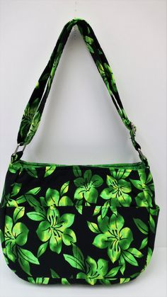 CLEARANCE SALE, Green Floral Bag, Adjustable Strap, Leave Bag, Green Black Purse, Cross Body Bag, Long Handle Bag, Sling Purse, Shoulder Bag by JustBeautiful161 on Etsy
