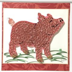Excited to share this item from my shop: Quilling pig art, Framed wall art, Unique signs Neli Quilling, Paper Quilling Patterns, Quilling Paper Craft, Quilling Cards, Paper Crafts, Paper Quilling For Beginners, Quilling Techniques, Quilling Animals, Buddhist Symbols
