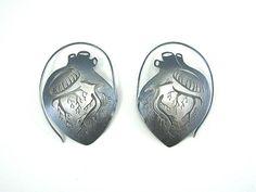 Large Anatomical Heart Hoop Earrings by Luana Coonen