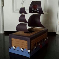 Dominic's pirate ship Valentine's box! Was really fun to make and turned out so awesome! He absolutely loves it!