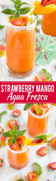 Strawberry Mango Agua Fresca - A light and refreshing fruit drink that only takes 15 minutes to make, it's the perfect way to cool off on a hot day!