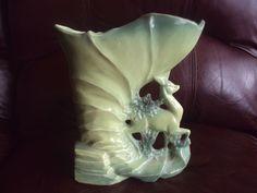Vintage McCoy Fawn /Deer Two Tone Green Cornucopia Vase. HTF! BEAUTIFUL!