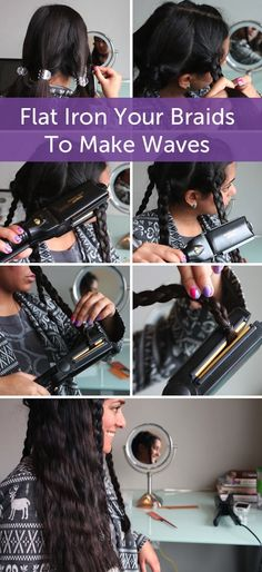 Flat iron curls: Section hair into 5-10 big sections than braid each in a loose braid. Run a flatiron over each braid, let them cool down, spray hairspray and undo the braids.