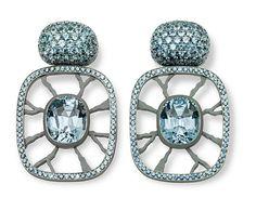 Hemmerle Earrings with sapphires - white gold - aluminium