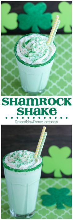 This Copycat McDonald's Shamrock Shake is minty, green, and topped with whipped cream! Perfect for St. Patrick's Day! on MyRecipeMagic.com